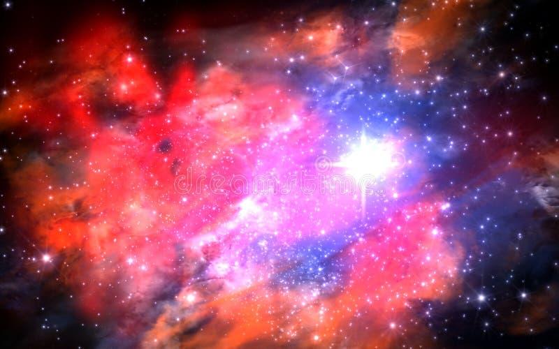 Illustratie van een gefingeerd ster-gebied, nevels, zon en galaxi vector illustratie