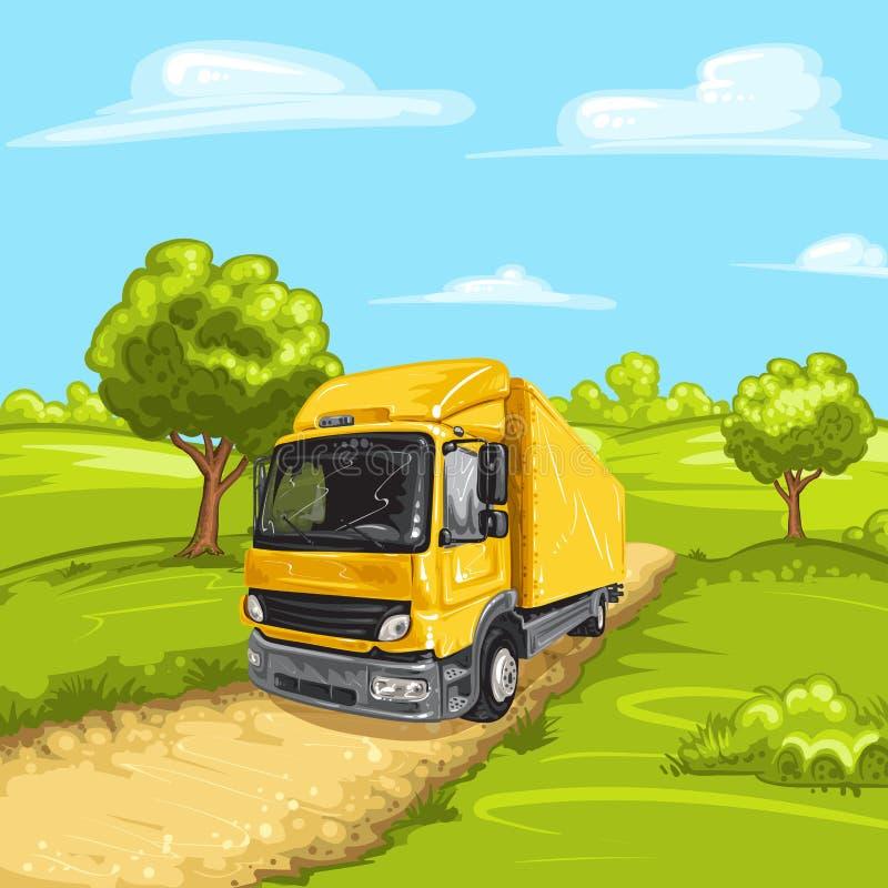 Illustratie van een gele vrachtwagen stock afbeeldingen
