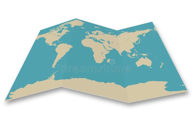Gevouwen de kaart van de wereld stock illustratie