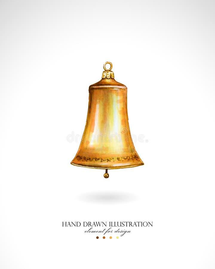 Illustratie van een gouden die Kerstmisklok door handen op een witte achtergrond wordt getrokken vector illustratie