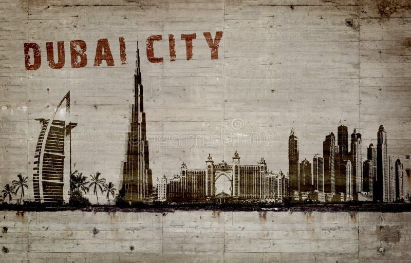Illustratie van een graffiti op een concrete muur van de stad van Doubai stock illustratie