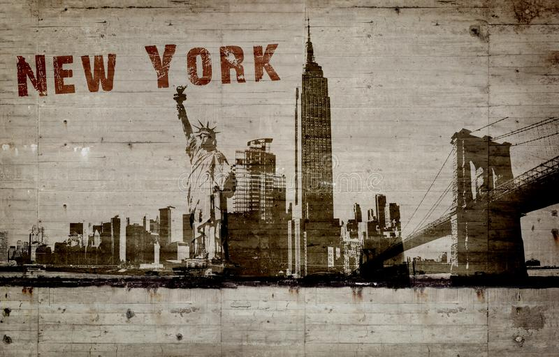 Illustratie van een graffiti op een concrete muur van de stad New-York stock foto's
