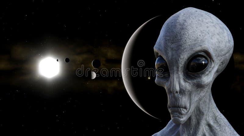 Illustratie van een grijze vreemdeling in de voorgrond met planeten, manen en een zon op de achtergrond stock foto