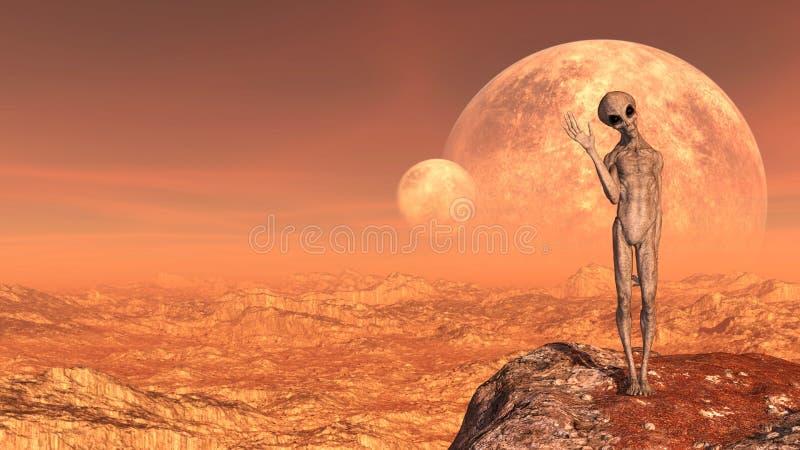 Illustratie van een grijze vreemdeling die vaarwel boven op een bergpiek golven met manen op de achtergrond op een rode wereld royalty-vrije stock afbeelding