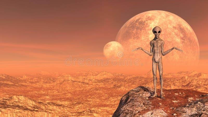 Illustratie van een grijze vreemdeling met wapens in gebaar boven op een bergpiek met manen op de achtergrond op een rode wereld royalty-vrije stock afbeeldingen