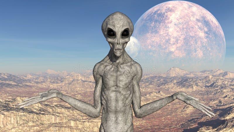 Illustratie van een grijze vreemdeling met wapens in gebaar met manen op de achtergrond op een buitenaardse wereld royalty-vrije stock foto's