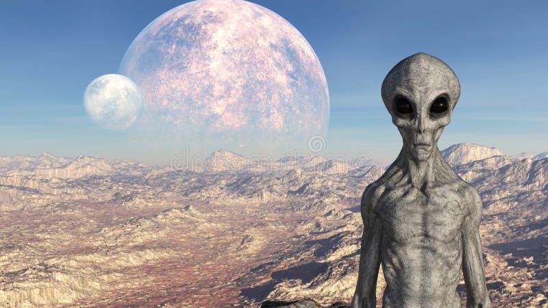 Illustratie van een grijze vreemdeling op een buitenaardse wereld met manen op de achtergrond stock foto