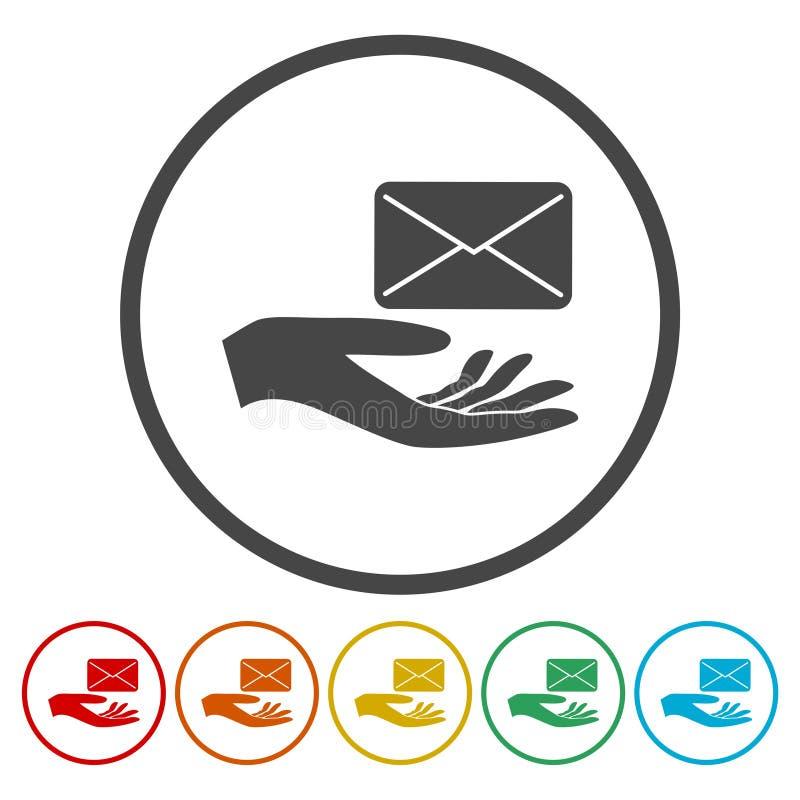 Illustratie van een hand die e aanbieden - post vector illustratie