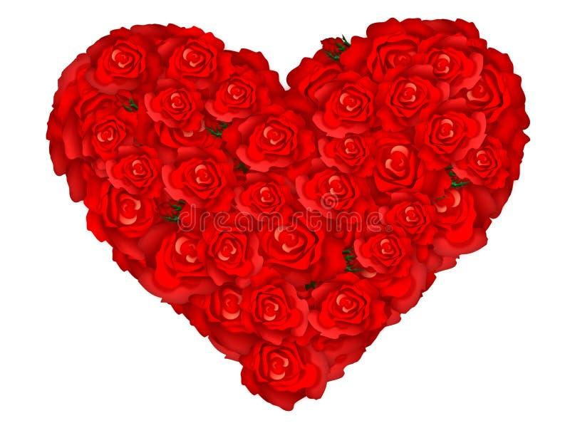 Illustratie van een hart dat door rozen wordt gevormd vector illustratie