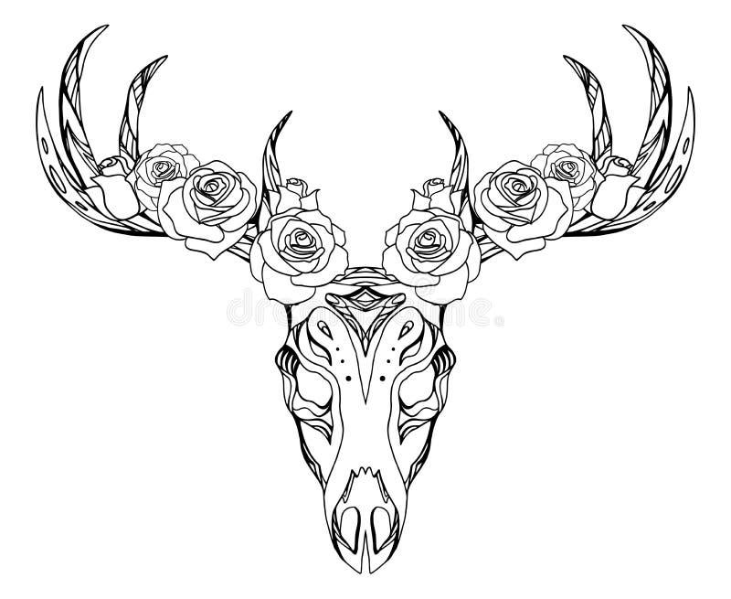 Illustratie van een hertenschedel met rozen en bohopatroon royalty-vrije illustratie