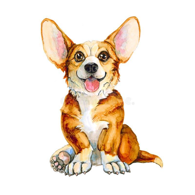 Illustratie van een hond van het Corgi-ras Roodharig puppy met tong en afluisteraar Geïsoleerdj op witte achtergrond vector illustratie