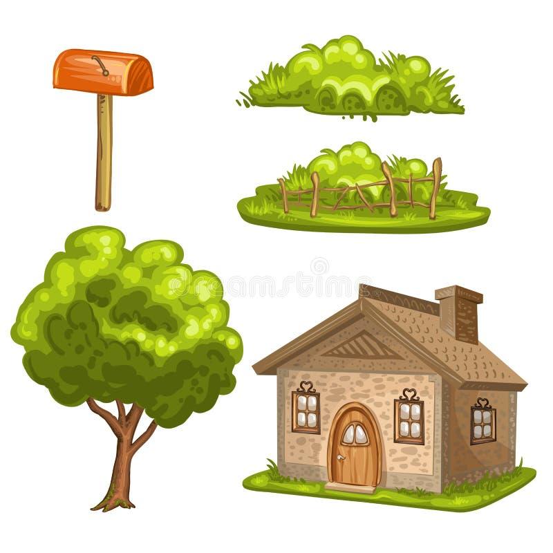 Illustratie van een huis, boom, struiken royalty-vrije stock fotografie