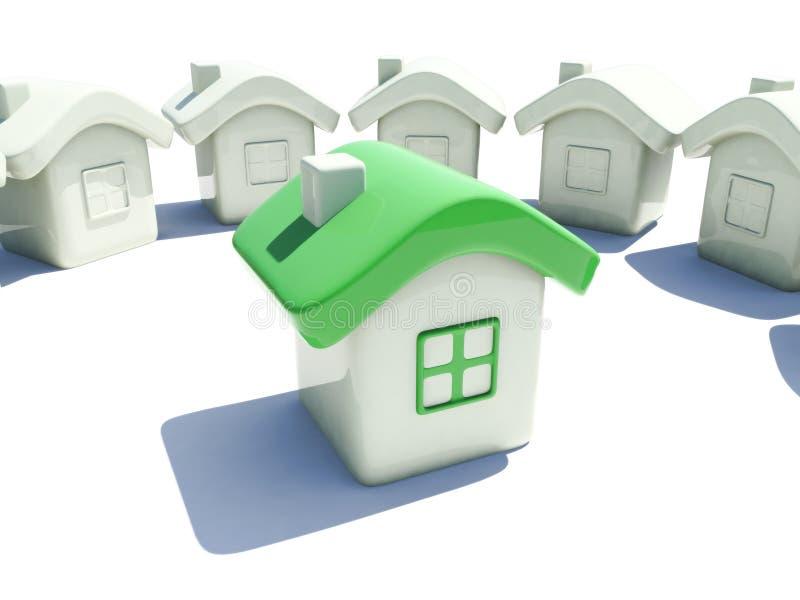 Illustratie van een huis met groen dak stock illustratie