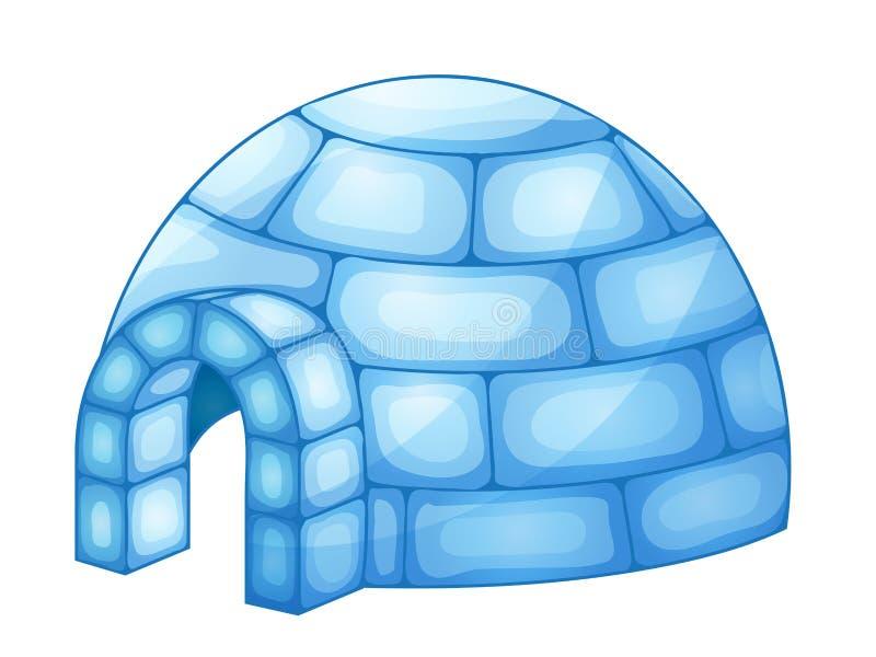Illustratie van een iglo op wit wordt geïsoleerd dat vector illustratie