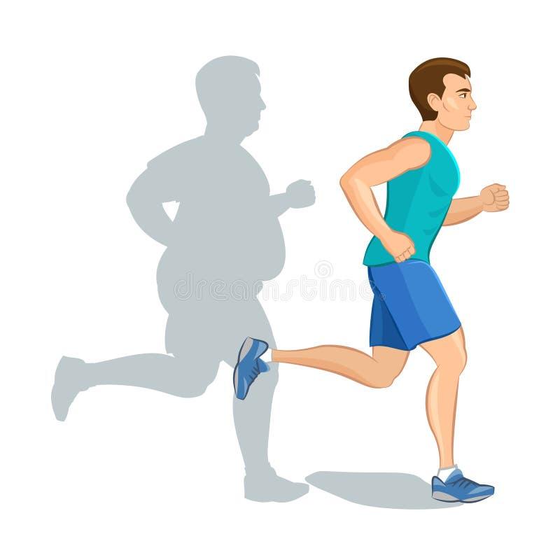 Illustratie van een jogging van de beeldverhaalmens, het concept van het gewichtsverlies, kaart royalty-vrije illustratie