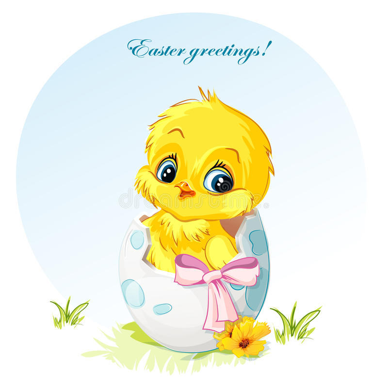 Illustratie van een jonge kip in ei roze boog vector illustratie
