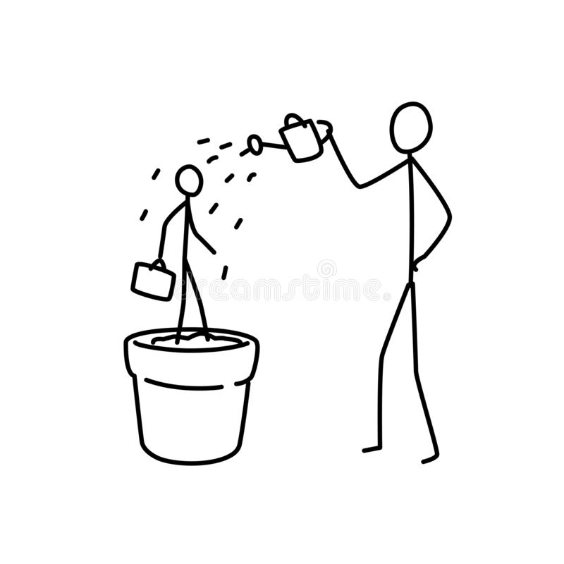 Illustratie van een kadermanager Vector Leid werknemers in het bedrijf op metafoor lineaire stijl Illustratie voor website of vector illustratie