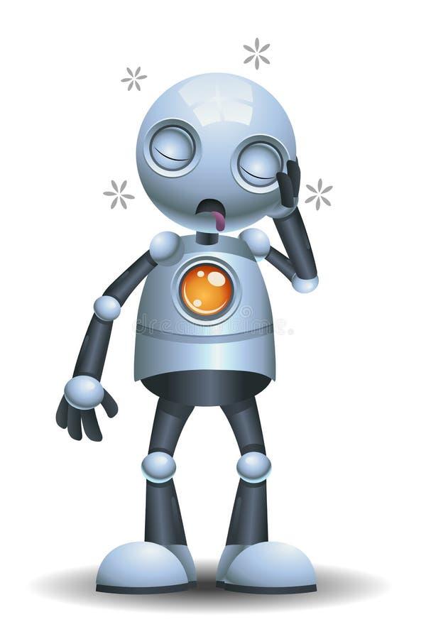 Illustratie van een kleine slaperige robot royalty-vrije illustratie