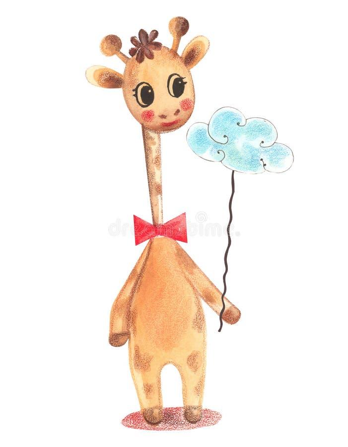 Illustratie van een kleurrijke giraf die van het waterverf dierlijke karakter en een wolk op een koord op geïsoleerd bevinden zic stock illustratie