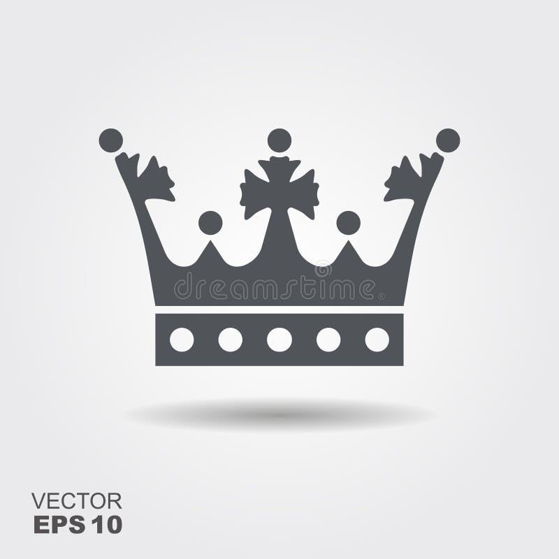 Illustratie van een kroon in vlakke ontwerpstijl stock illustratie