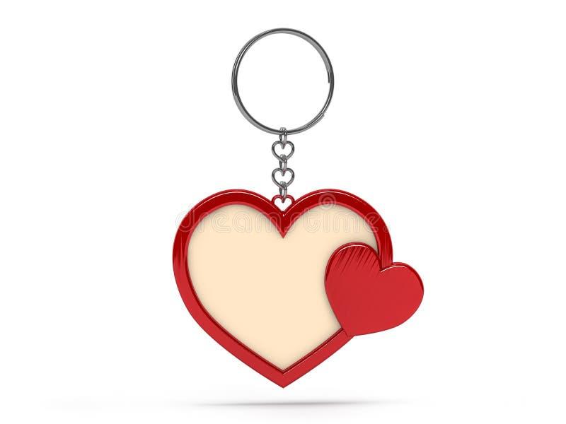 Illustratie van een lege vorm van het metaalhart keychain met een ring F stock illustratie