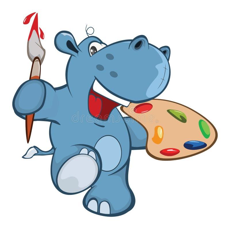 Illustratie van een Leuk Klein Hippo-Beeldverhaalkarakter vector illustratie