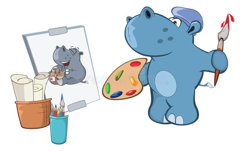 Illustratie van een Leuk Klein Hippo-Beeldverhaalkarakter royalty-vrije illustratie