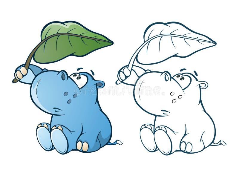 Illustratie van een Leuk Klein Hippo-Beeldverhaalkarakter Kleurend boek overzicht stock illustratie