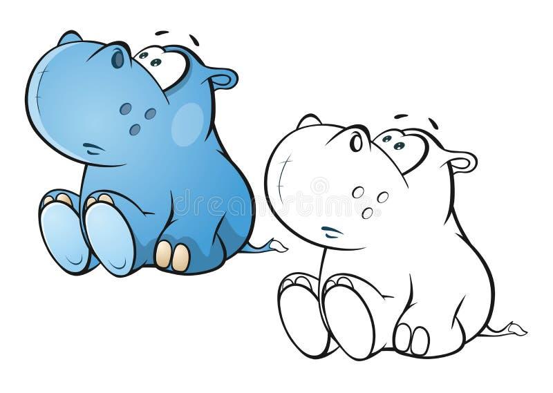 Illustratie van een Leuk Klein Hippo-Beeldverhaalkarakter Kleurend boek overzicht royalty-vrije illustratie