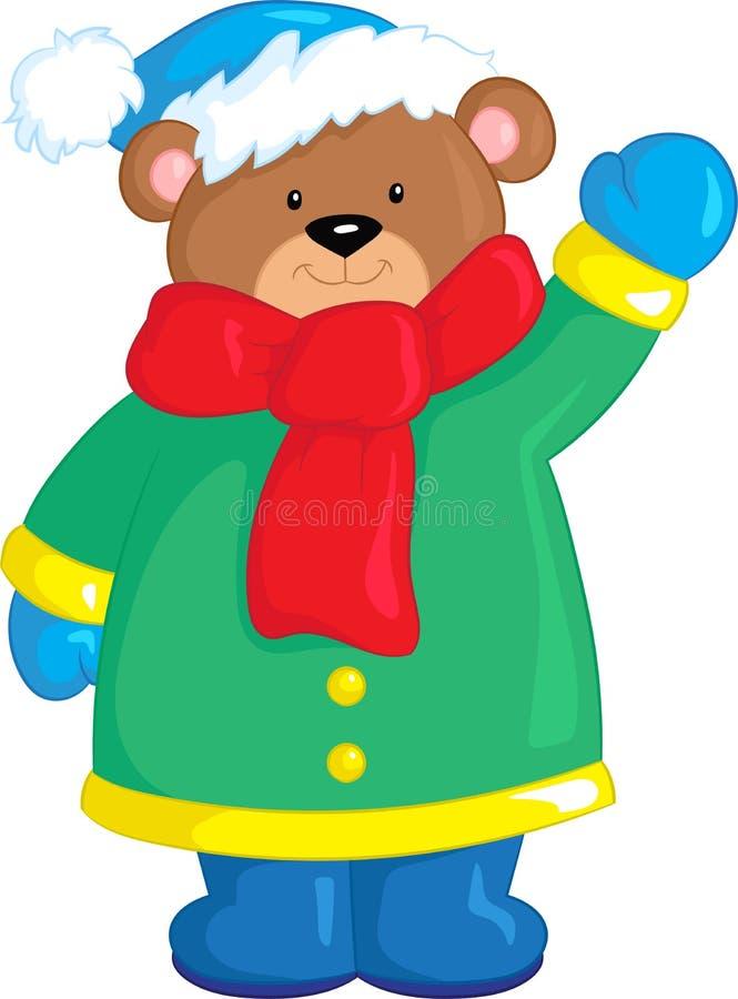 Illustratie van een leuke kleine teddybeer, in kleur, in de wintertijd, ideaal voor het boek van kinderen of Kerstkaart royalty-vrije illustratie
