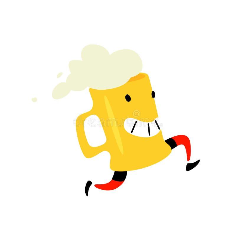 Illustratie van een lopende mok bier Vector Schuimende drank Pictogram voor plaats op witte achtergrond Teken, embleem voor een o vector illustratie