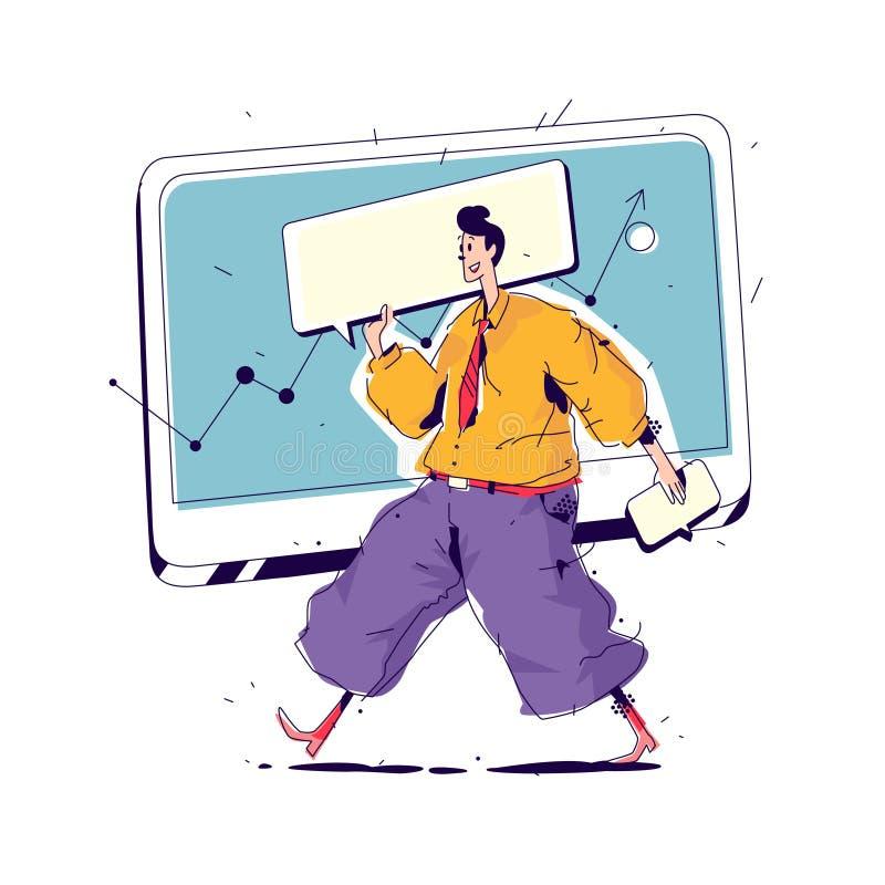 Illustratie van een manager met een grote dekking Vector Manager op de achtergrond van de monitor en interfaceelementen SEO Het b stock illustratie