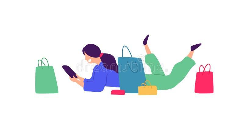 Illustratie van een meisje met het winkelen Vector Positieve vlakke illustratie in beeldverhaalstijl Kortingen en verkoop Shopaho stock illustratie
