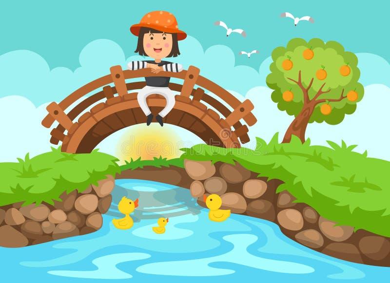 Illustratie van een meisjeszitting op houten brug in aard landsc stock illustratie