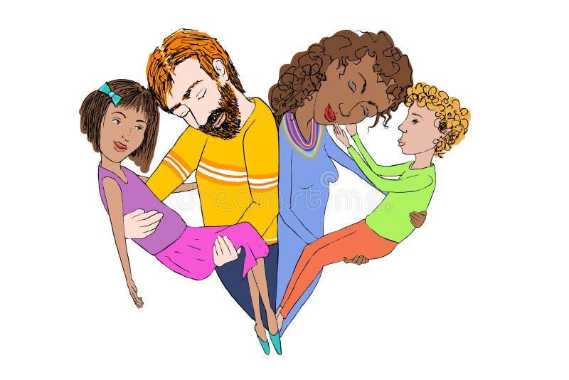 Illustratie van een mengen-rasfamilie stock foto