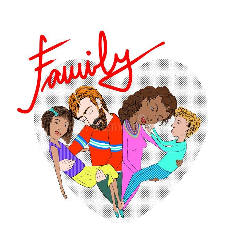 Illustratie van een mengen-rasfamilie royalty-vrije stock foto