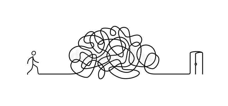 Illustratie van een mens die door een labyrint aan de uitgang lopen Vector Het labyrint is als hersenen metafoor lineaire stijl stock illustratie