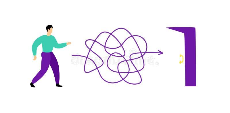 Illustratie van een mens die door een labyrint aan de uitgang lopen Vector Het labyrint is als hersenen metafoor Vlakke stijl royalty-vrije illustratie
