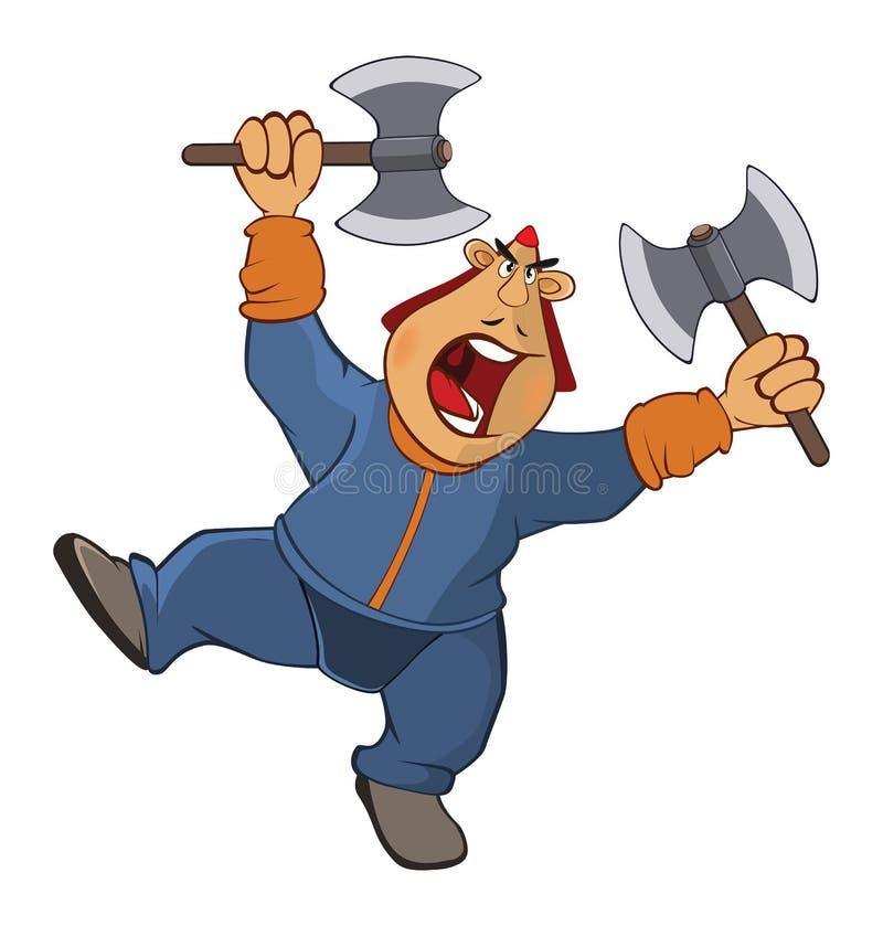 Illustratie van een Militair Mongol Het karakter van het beeldverhaal stock illustratie