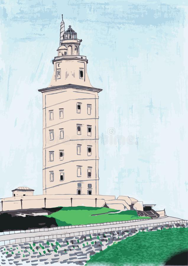 Illustratie van een monument van de Werelderfenis: de Toren van Hercules stock illustratie