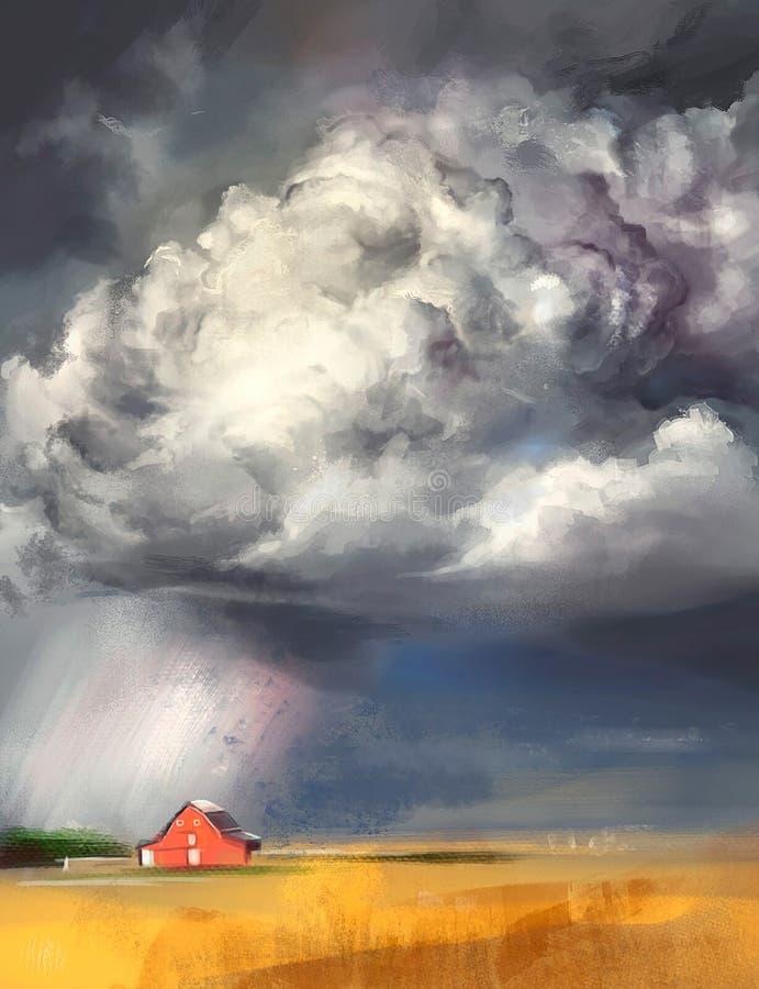Illustratie van een onweersbui in een dorp royalty-vrije illustratie