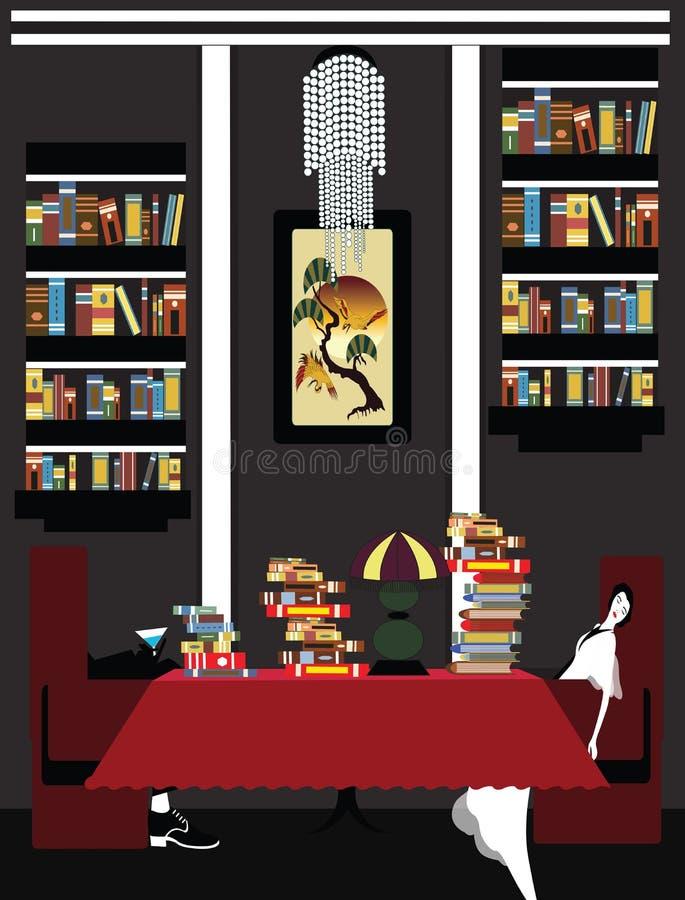 Illustratie van een paar uitgeput van lezing royalty-vrije illustratie