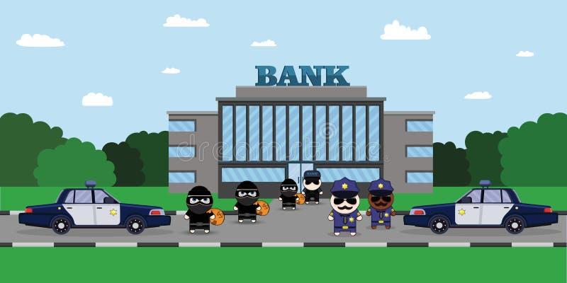 Illustratie van een Politieagent die een Dief met Gestolen Zak achtervolgen Bankveiligheidsagent Security Finance Service gepants stock illustratie