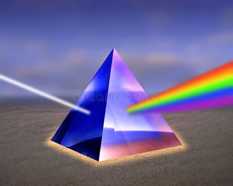 Illustratie van een prisma met stralen van licht. royalty-vrije illustratie
