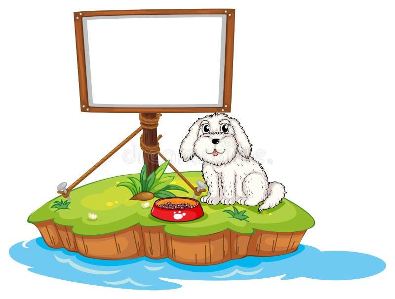 Een puppy en de lege raad in een eiland vector illustratie