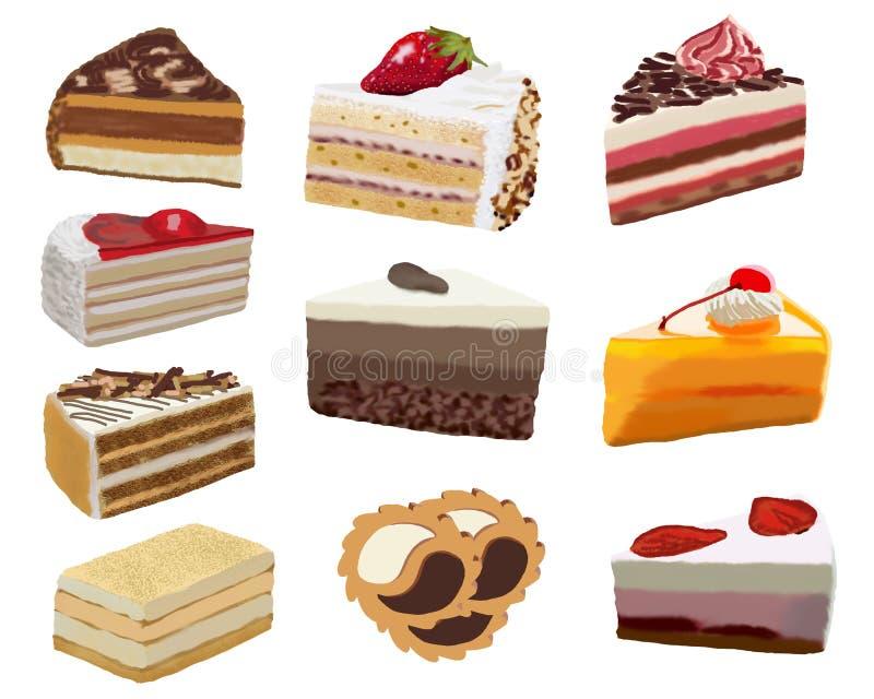 Illustratie van een reeks cakes op een witte achtergrond royalty-vrije illustratie