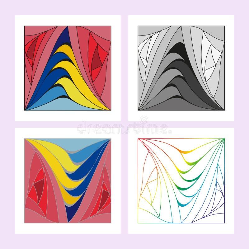 Illustratie van een reeks gekleurde panelen met een geometrisch patroon van vier soorten voor gebruik door mensen in het ontwerp  stock illustratie