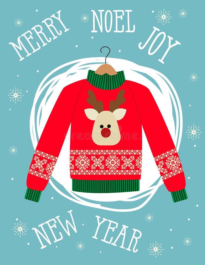 Illustratie van een rode Kerstmissweater met herten Grappige vakantieachtergrond Heldere Kerstkaart vector illustratie
