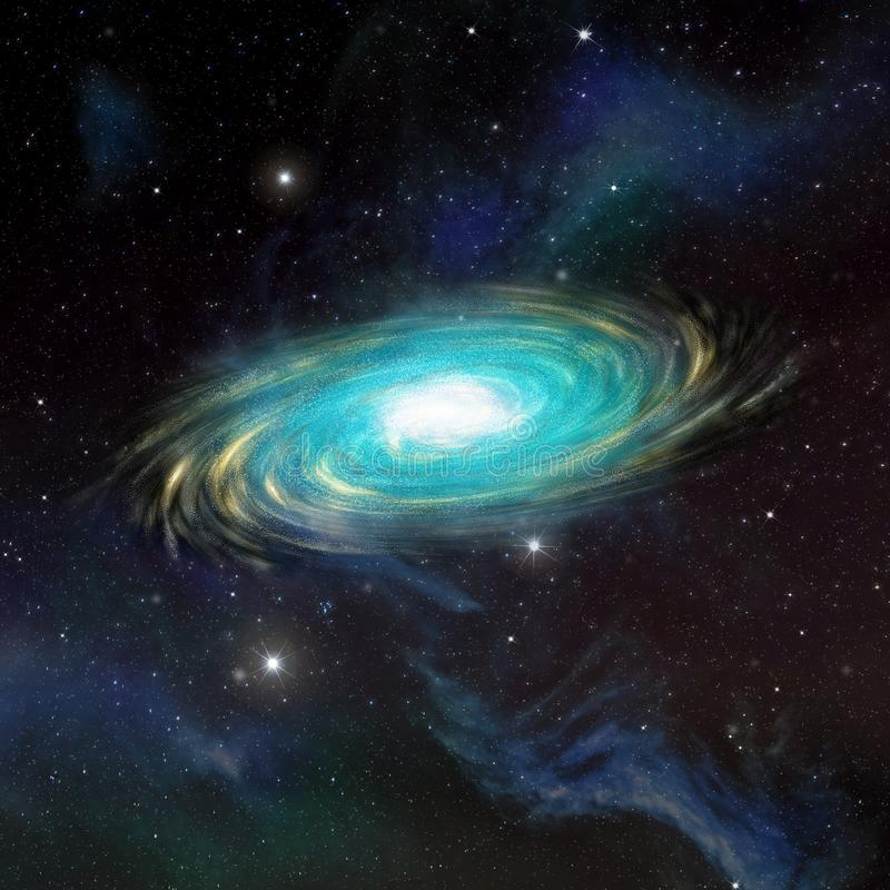 Illustratie van een ruimtescène met een melkweg royalty-vrije illustratie