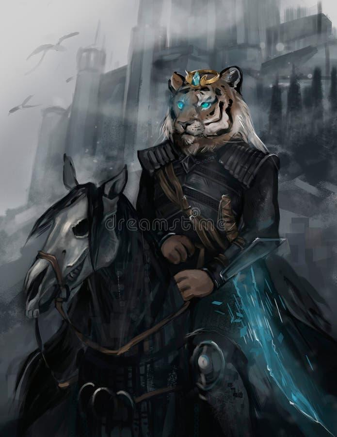 Illustratie van een ruiter op een zwart paard stock illustratie